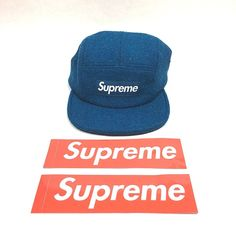 4c66a93ab77 Supreme Featherweight Wool Camp Cap Hat Teal FW17 Authentic New With Tags
