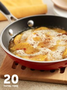 Only 20 minutes to the perfect Skillet Peach Cobbler.
