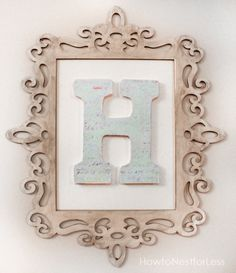 Initial Wall Decor family initial, monogram, antique look, any letter available