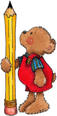 Bear w/tall pencil