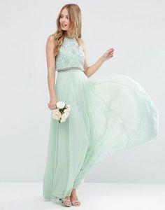 ASOS – WEDDING – Verziertes Maxikleid mit kurzem Oberteil