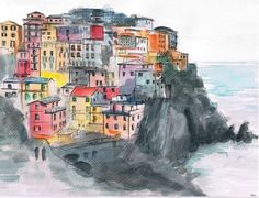 Italy painting. Liguria painting. Cinque Terra. Italy by madareli