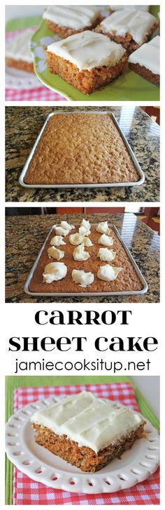 Carrot Sheet Cake with Cream Cheese Frosting from Jamie Cooks It Up! This treasure of a recipe will feed a crowd and would make a perfect finish to your Easter meal. (Baking Eggs With Cream) Sheet Cake Recipes, Cupcake Recipes, Baking Recipes, Dessert Recipes, Sheet Cakes, Carrot Sheet Cake Recipe, Sheet Cake Pan, Cupcakes, Cupcake Cakes
