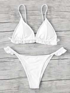 Shop Frill Trim Triangle Bikini Set online. SheIn offers Frill Trim Triangle Bikini Set & more to fit your fashionable needs.