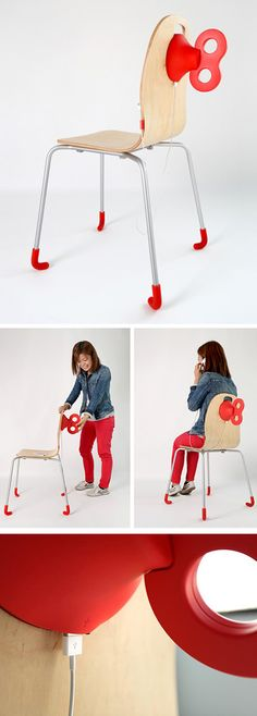 Pega Windup Chair - manually wind the wheel to generate energy to charge your phone!