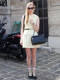 Fall 2013 Couture Week Street Style: Marie Jensen, wearing a vintage dress