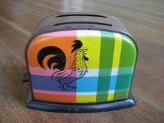 Vintage Toy Toaster - Colorful Plaid with Rooster