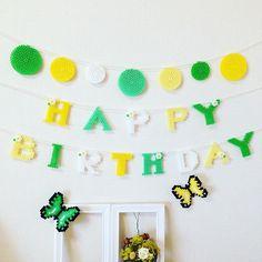 Happy Birthday garland perler beads by a.y.a.0721