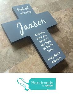 Godson / Goddaughter Handmade Personalized Cross - Baptized with date, name & church - gift for boy or girl from Godparents from Frame Your Story Shop https://www.amazon.com/dp/B01M1JJ7FQ/ref=hnd_sw_r_pi_dp_UCi6xb9MDJREE #handmadeatamazon