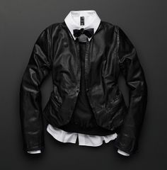 G-Star RAW Midnight Collection Tip 6 - Toughen Up. Leather speaks of motorbikes, rebellion and the open-road. Layer in a slim leather jacket with classic blazer details to add a tough twist to an elegant look. https://www.g-star.com/product/women/shirts/21.141.93504C.4511.990