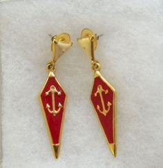 $5.00 Anchor Earrings - Red, Cream & Gold Color (91215-1470MS) jewelry, fashion #Unbranded #DropDangle