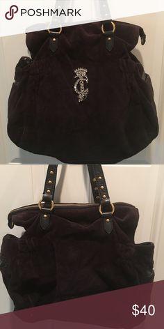 Juicy Couture Handbag Rhinestoned JC monogram on front.. black velour Juicy Couture Bags Satchels