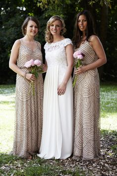 Bridesmaids wear 1920's Inspired full length beaded dresses | Photography by http://www.ollieporter.co.uk/ and http://www.christopherparsons.co.uk::