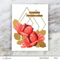 Cut out diamonds in every size! Diamond frames die set perfect for any paper crafting projects. Scrapbook Blog, Scrapbook Pages, Scrapbooking, Altenew Cards, Blooming Flowers, Flower Cards, Paper Crafts, 3d Paper, Birthday Cards