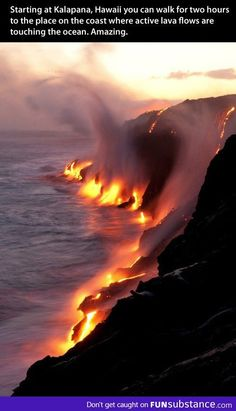 Beautiful view of lava touching the sea