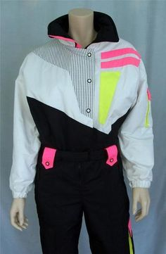 b0da3fb5df Vtg 80 s Tyrolia by Head One Piece Ski Suit Snow Black White Pink Yelllw Sz  6