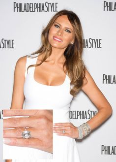 Diamond Engagement Rings Melania Knauss The ring remains a production of Graff and it is encrusted with a 15 carat emerald-cut diamond. Donald Trump willingly presented the ring to his wife Melania Knauss. It cost $3 million.