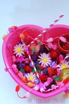 Valentine's sensory tub for fine motor fun! Toddler play fun.