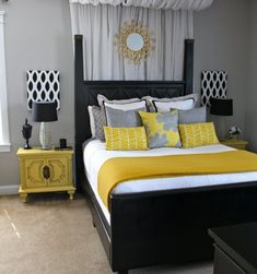 Creative Grey And Yellow Bedroom Decor For Your Home Decoration Planner with Grey And Yellow Bedroom Decor Home, Bedroom Makeover, Elegant Bedroom, Home Bedroom, Bedroom Diy, Bedroom Inspirations, Bedroom Color Schemes, Master Bedrooms Decor, New Room