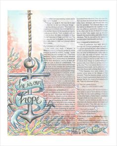 He is Our Hope Bible Journaling Art Print / fischtales Faith Bible, My Bible, Bible Scriptures, Bible Drawing, Bible Doodling, Scripture Art, Bible Art, Bible Illustrations, Bible Notes