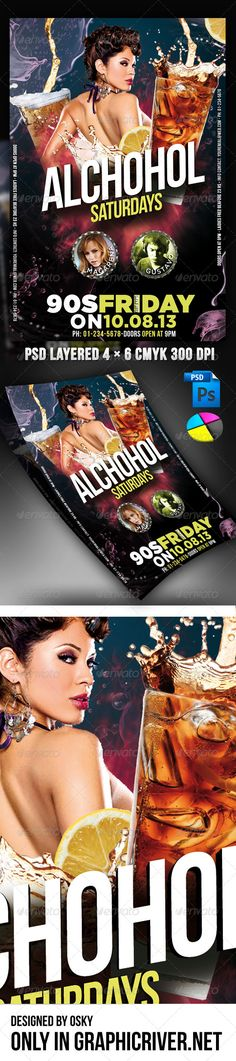 Alcohol Saturday Party  #GraphicRiver        Alcohol Saturday Party