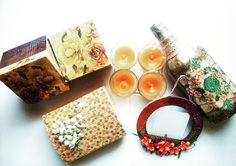 """Shikha kreations shared a post on Instagram: """"Lets ditch those old boring boxes of sweets and dryfruits and gift your loved those handmade boxes…"""" • Follow their account to see 339 posts. Boxes Of Sweets, Handmade Boxes, Napkins, Posts, Instagram, Decor, Craftsman Deck Boxes, Messages, Decoration"""