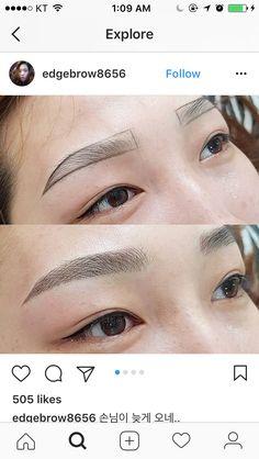 Eyebrow Makeup Tips, Permanent Makeup Eyebrows, Eye Makeup, Hair Makeup, Different Eyebrow Shapes, Korean Eyebrows, Sparse Eyebrows, Best Eyebrow Products, Microblading Eyebrows