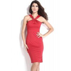Halter Neck Red Midi Bodycon Evening Dress