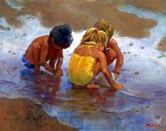 """Three Mucketeers 2 children Beach playing giclee print 32 x 40"""" Lucelle Raad mothers day gift. $750.00, via Etsy."""