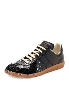 MAISON MARGIELA POLLOCK PAINT-SPLATTER LEATHER & SUEDE LOW-TOP SNEAKER, BLACK. #maisonmargiela #shoes #