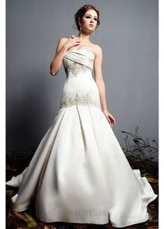 Timeless dropped waist gown in Royal Duchess Satin Strapless and embellished with embroidery beading wedding dress - Trumpet/ Mermaid - Wedding Dresses on sale,cheap wedding dresses