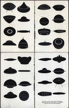 The most common shapes of UFOs as described by witnesses.