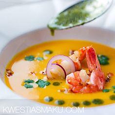 Cream of pumpkin soup with coriander pesto and shrimp