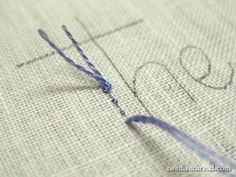 Tips for hand embroidering letters: starting, stopping and traveling the thread