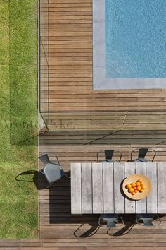 deck and stone coping Decks Around Pools, Pool Decks, Outdoor Pool, Outdoor Spaces, Outdoor Living, Pool Fence, Garden Pool, Coping Stone, Living Pool
