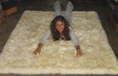 White baby alpaca fur rug from Peru