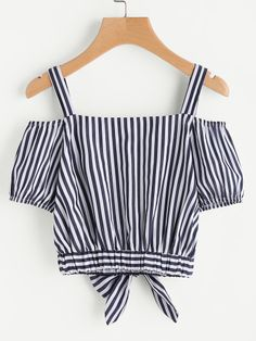 Shop Vertical Striped Bow Tie Hem Top at ROMWE, discover more fashion styles online. Girls Fashion Clothes, Teen Fashion Outfits, Girl Fashion, Girl Outfits, Clothes For Women, Casual Skirt Outfits, Cute Comfy Outfits, Trendy Outfits, Summer Outfits