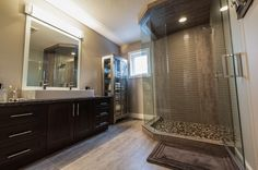 Stunning Whole- Home Makeover Bathroom Renovations, Bathrooms, Custom Cabinets, Cabinet Design, Group, Mirror, Gallery, Furniture, Home Decor