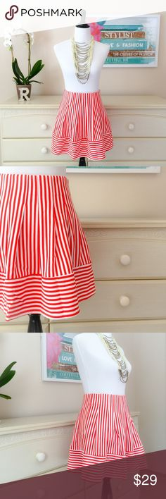 """Red Stripes Skater Skirt Cute stripe flare skirt which you can style up or down! Side zipper closure.  Stats: 70% Cotton 30% Rayon Waist to hem: 16.5""""  Style Tips:  Casual: with your favorite shirt, jean jacket, sneakers  Dinner Out: with heels, sleeveless blouse, statement skirt Sugarlips Skirts Circle & Skater"""