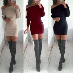 Womens Winter Off Shoulder Long Sleeve Bodycon Evening Party Sweater Mini Dress | eBay