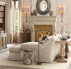 sconces are perfect plus grey linen curtains in our house would create same tone on tone look...note to self!!!