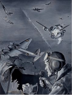 NEWQUIST - War Aces Magazine story illustration - RAF shooting German Bombers - item by fineart. Magazine Art, Sci Fi, German, War, Illustration, Deutsch, Science Fiction, German Language, Illustrations