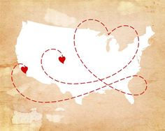 Long Distance Love Story Map, $22.00, via Etsy.
