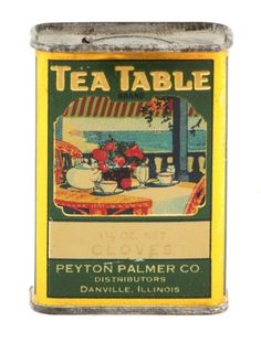 Tea Table brand spice tin ... great art of table set for tea outdoors on porch, c. early 20th century, from Peyton Palmer Co, Danville, Illinois, USA ... not a tea tin, but coiuldn't resist the name and artwork