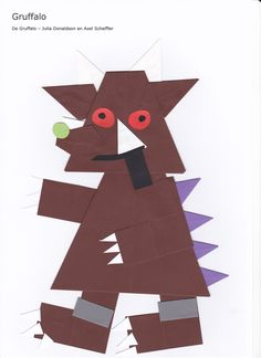 Gruffalo - vlieger en recht kruis www.vouwjuf.nl Gruffalo Eyfs, Gruffalo Activities, Eyfs Activities, Nursery Activities, The Gruffalo, Book Activities, Nursery Crafts, Kids Art Class, Art For Kids