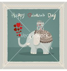Valentines day elephant card vector - by inkant on VectorStock®