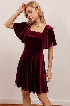 Black Velvet Dress, Velvet Dresses, Velvet Skater Dress, Casual Dresses, Short Dresses, Casual Outfits, Cute Outfits, Holiday Dresses, Winter Party Dresses