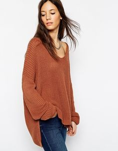 Always a fan of a grunge style, chunky knit and as always opt for a larger size for that slouchy - off shoulder feel. Easy. http://asos.do/tAuBoQ