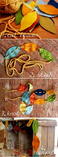 Fall Garland - So cute and simple!  I think the kids could even make it!