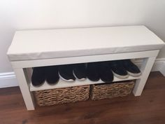 Turn a LACK TV unit into a hallway bench - Schuh Schrank Ikea Shoe Bench, Entryway Bench Ikea, Ikea Hallway, Hallway Bench, Tv Bench, Ikea Hacks, Ikea Lack Hack, Ikea Lack Table, Ikea Lack Tv Bank